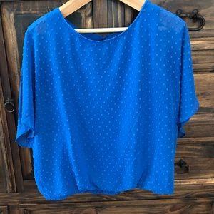 Royal blue short-sleeve blouse